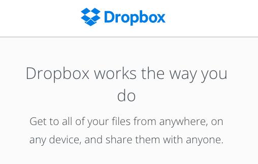 Dropbox website screenshot
