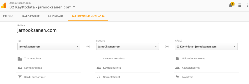 Google Analytics Admin Screenshot